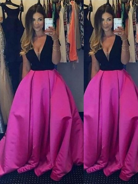 Ball Gown V-neck Ruffles Floor-Length Satin Dress