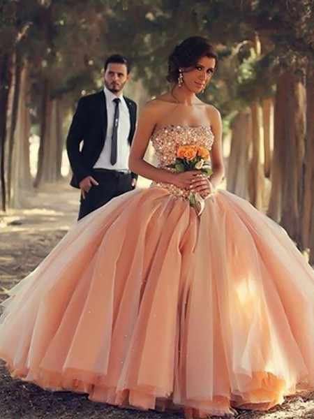 Ball Gown Strapless Beading Floor-Length Tulle Dress