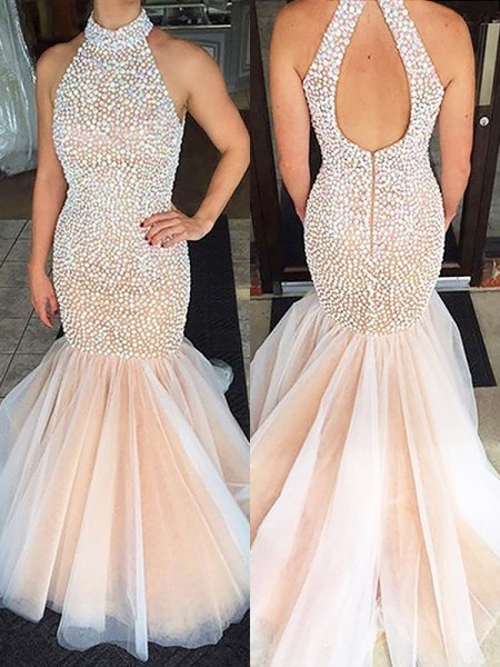 Trumpet/Mermaid Halter Tulle Sweep/Brush Train Dress