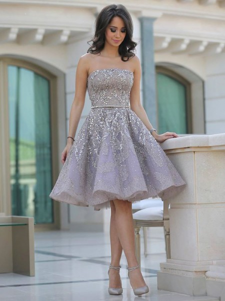 A-Line/Princess Strapless Sequin Knee-Length Satin Dress