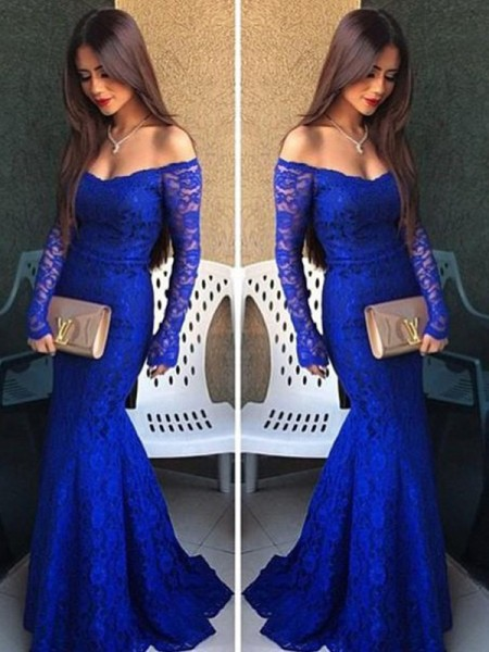Trumpet Off-the-Shoulder Long Sleeves Lace Sweep/Brush Train Evening Wear