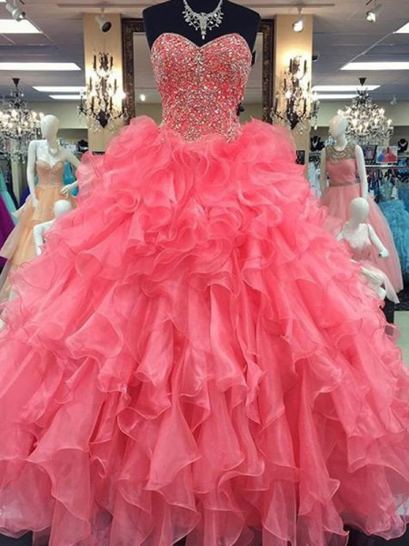 Ball Gown Sweetheart Floor-Length Organza Dress