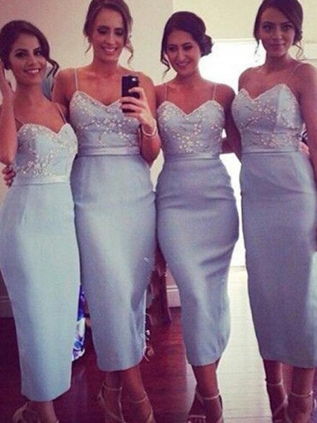 Sheath/Column Spaghetti Straps Satin Knee-Length Bridesmaid Dress