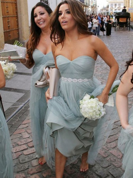 A-Line/Princess Sweetheart Floor-Length Tulle Bridesmaid Dress