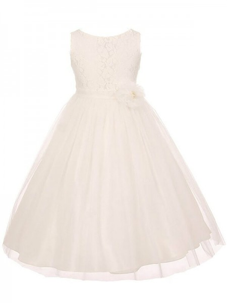 A-line/Princess Scoop Sleeveless Tulle Sash/Ribbon/Belt Floor-Length Flower Girl Dresses