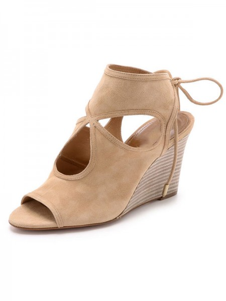 Women's Peep Toe Suede Wedge Heel With Lace-up Sandal Ankle Boots