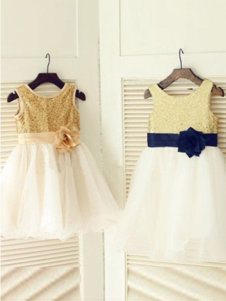 Cute Princess Scoop Sleeveless Hand-Made Flower Tea-length Tulle Girl Dress