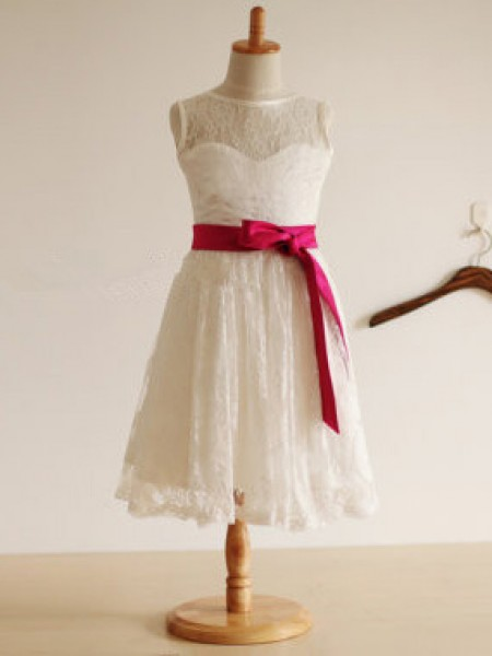 Jewel Princess Sleeveless Sash/Ribbon/Belt Tea-length Lace Flower Girl Dress