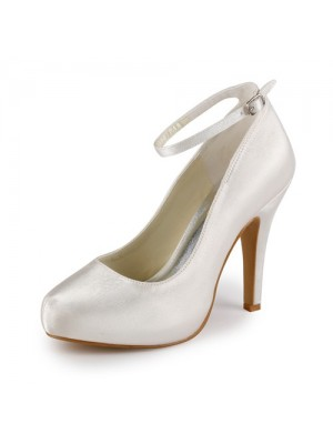 Satin Stiletto Heel Closed Toe Platform Pumps Wedding Shoes With Buckle