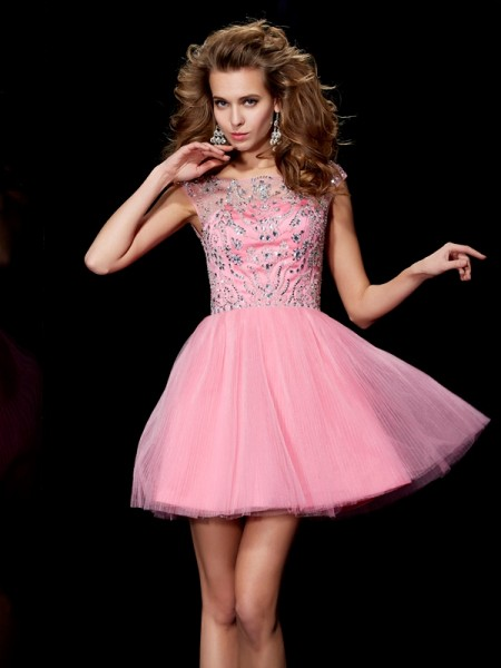A-Line/Princess Bateau Beading Homecoming Dress with Satin