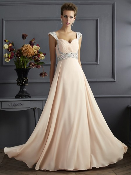A-Line/Princess Straps Beading Dress with Chiffon