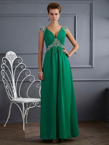 A-Line/Princess V-neck Short Sleeves Beading Dress with Long Chiffon