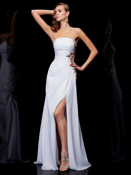 Sheath/Column Strapless Ruffles Dress with Long Chiffon