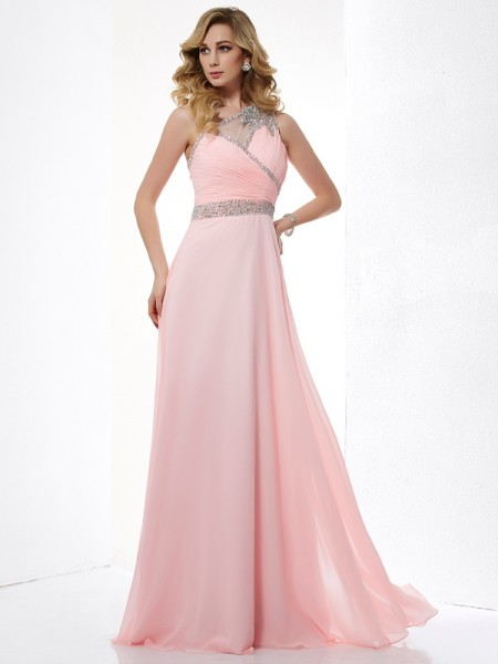 A-Line/Princess One-Shoulder Beading Chiffon Long Dress