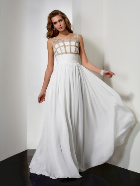 A-Line/Princess Straps Beading Chiffon Long Dress