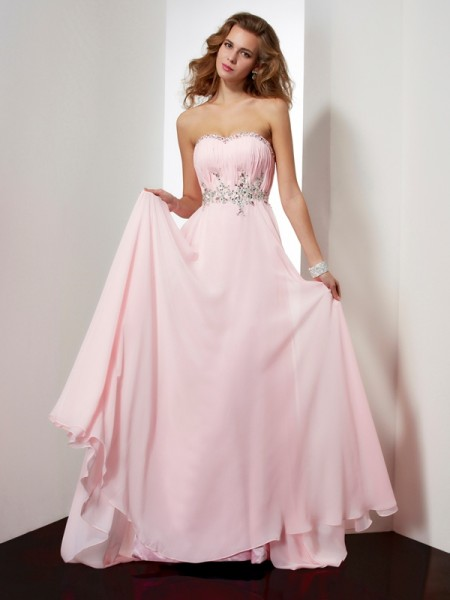 A-Line/Princess Sweetheart Beading Applique Dress with Long Chiffon