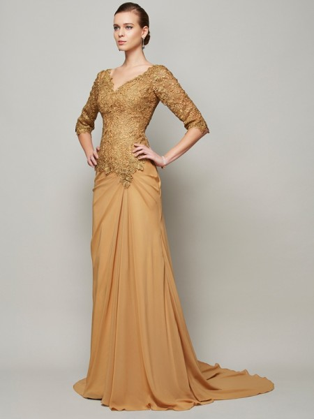 Column V-Neck Beading Chiffon Floor Length lace Sleeves Gown