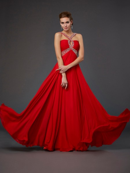 Sheath/Column Halter Beading Sequin Dress with Long Chiffon