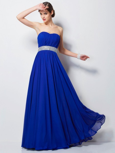 Empire Sweetheart Beading Dress with Long Chiffon