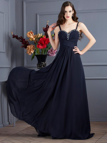 A-Line/Princess Spaghetti Straps Beading Dress with Long Chiffon
