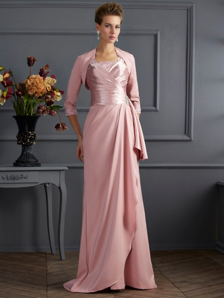 Sheath/Column Straps Long Elastic Woven Satin Mother of the Bride Dress