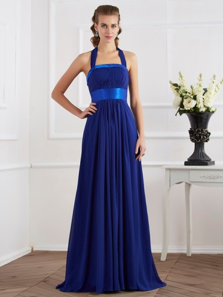 A-Line/Princess Halter Ruched Dress with Long Chiffon
