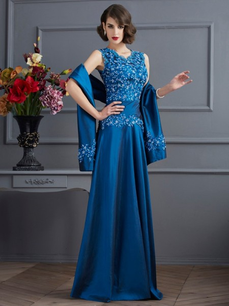 A-Line/Princess V-neck Beading Long Taffeta Mother of the Bride Dress