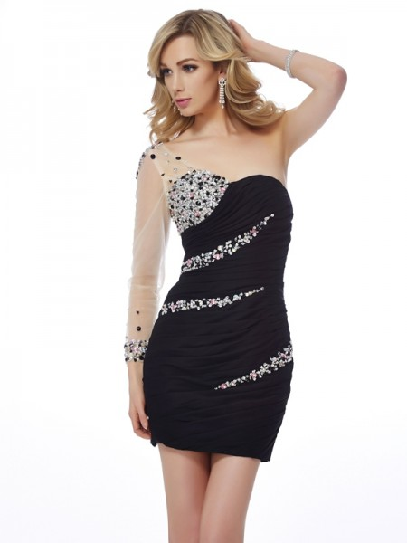 Sheath/Column One-Shoulder Beading Short Chiffon Homecoming Dress