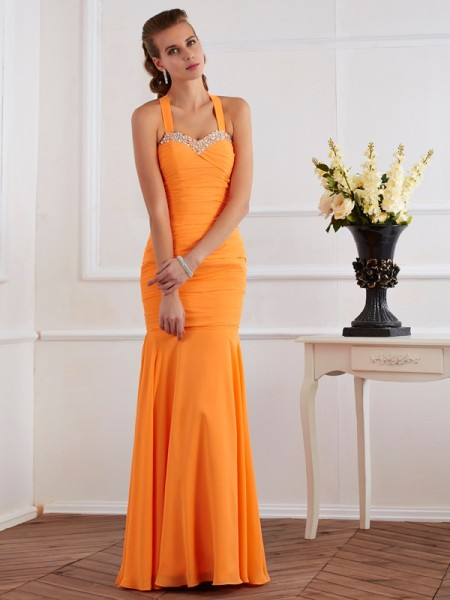 Trumpet/Mermaid Halter Beading Dress with Long Chiffon