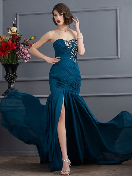 Trumpet/Mermaid Strapless Beading Applique Dress with Long Chiffon