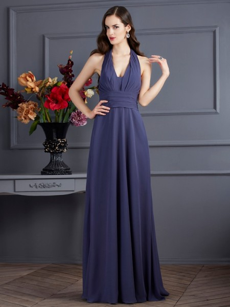 A-Line/Princess Halter Pleats Dress with Long Chiffon