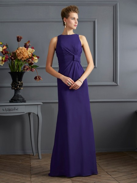 Sheath/Column Bateau Pleats Dress with Long Chiffon