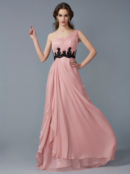 A-Line/Princess One-Shoulder Beading Long Applique Chiffon Dress