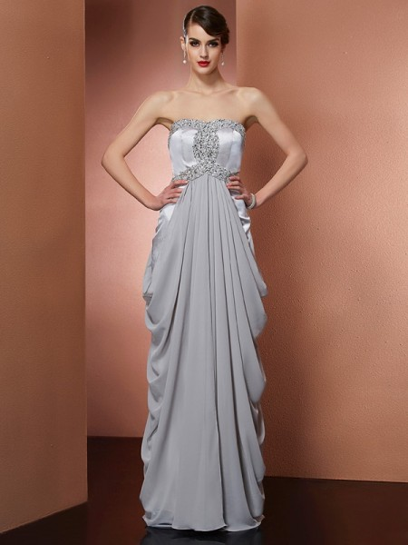 Sheath/Column Strapless Beading Dress with Long Chiffon