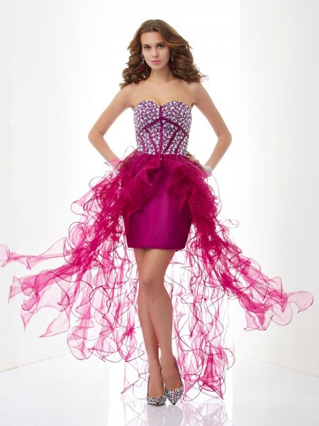 Sheath/Column Sweetheart Beading Short Elastic Woven Satin Homecoming Dress