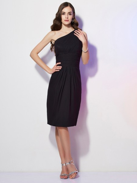 Sheath/Column One-Shoulder Beading Short Chiffon Bridesmaid Dress