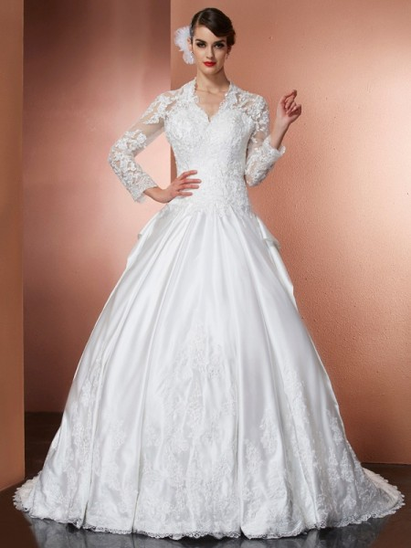 A-Line/Princess V-neck Long Sleeves Applique Long Satin Wedding Dress