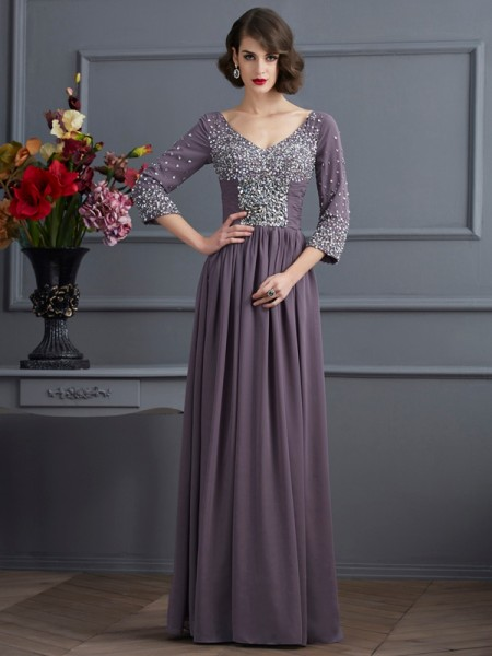 Sheath/Column V-neck Beading Mother of the Bride Dress with Long Chiffon