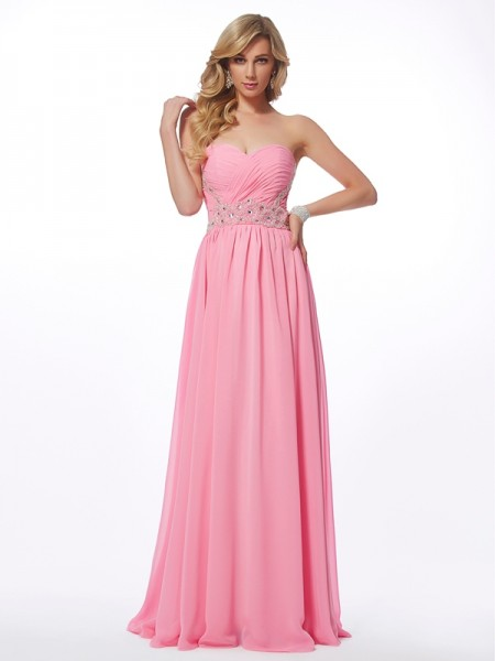A-Line/Princess Sweetheart Applique Dress with Long Chiffon