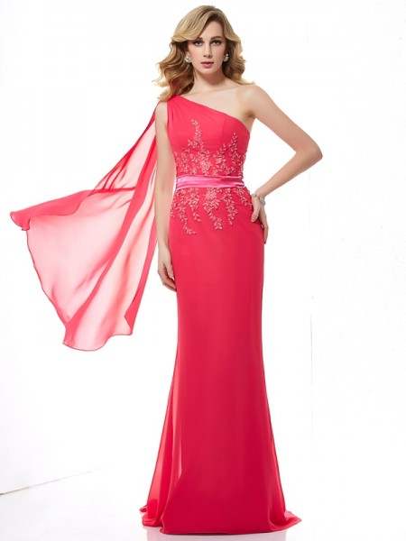 Sheath/Column One-Shoulder Applique Beading Dress with Long Chiffon