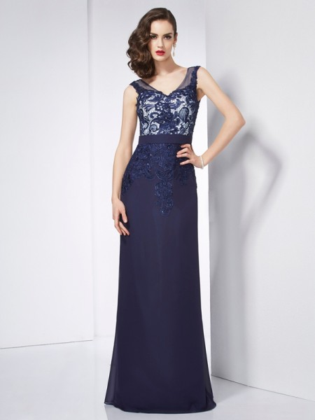 Sheath/Column V-neck Beading Applique Dress with Long Chiffon