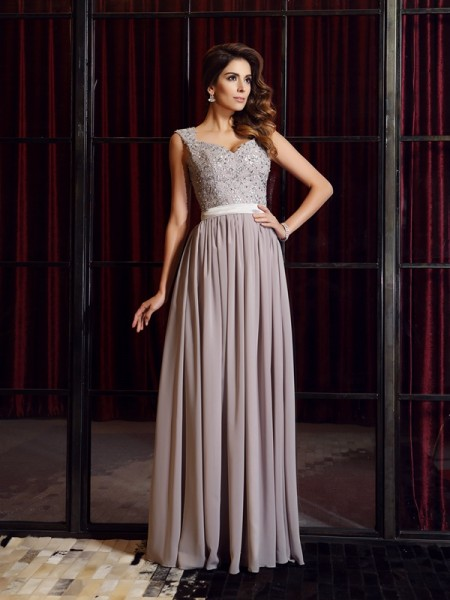 A-Line/Princess Straps Applique Dress with Long Chiffon