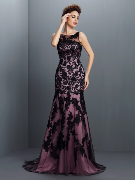 Mermaid Bateau Applique Sweep/Brush Train Elastic Woven Satin Evening Dresses