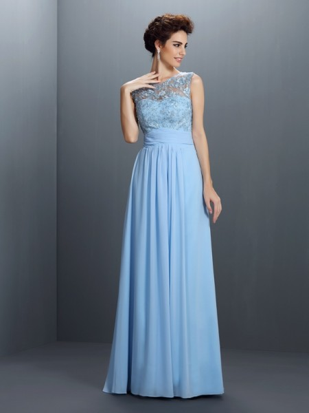 A-Line/Princess Bateau Applique Dress with Long Chiffon