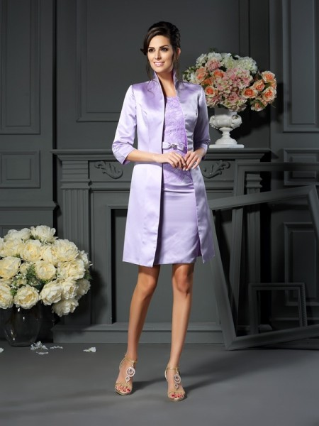 Sheath/Column Scoop Bowknot Short Satin Mother of the Bride Dress
