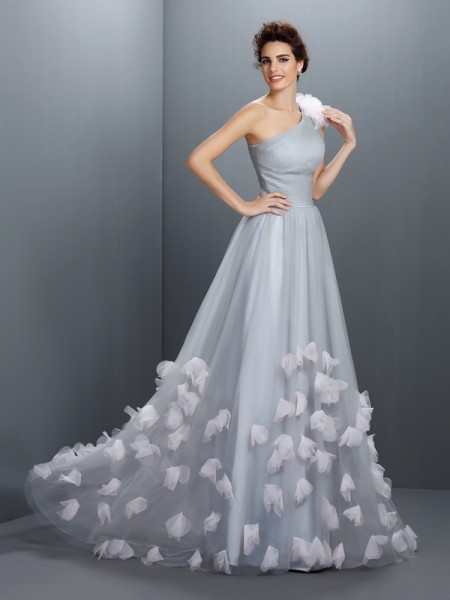 A-Line/Princess One-Shoulder Long Net Dress