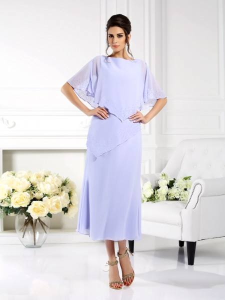 Sheath/Column Bateau 1/2 Sleeves Mother of the Bride Dress with Long Chiffon