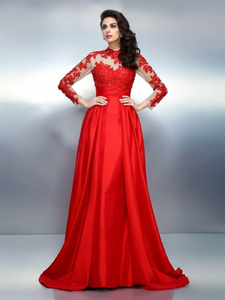 A-Line/Princess High Neck Applique Long Sleeves Long Satin Dress