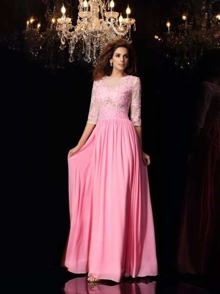A-Line/Princess Scoop Applique 1/2 Sleeves Long Silk like Satin Dress