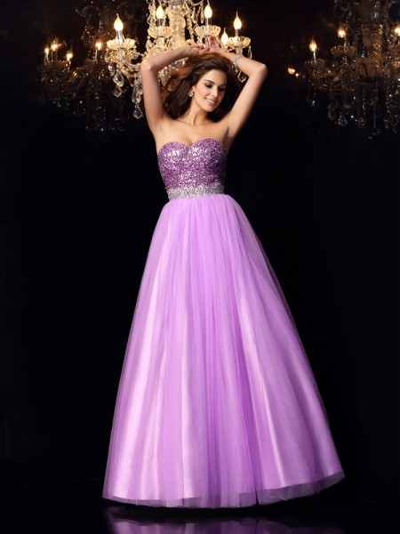 Ball Gown Sweetheart Sequin Long Elastic Woven Satin Quinceanera Dress